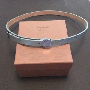 Authentic LV Thin Silver Logo Belt